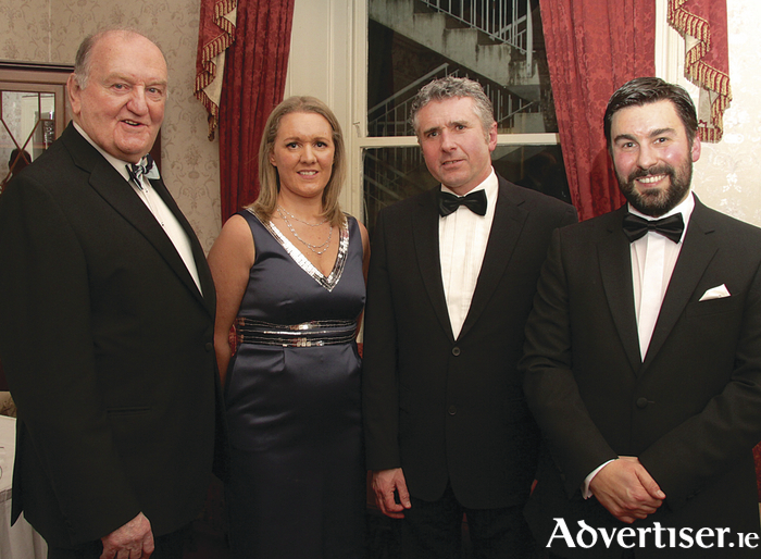 George Hook ( guest speaker);  Patrica Staunton SCSI, West region chairperson; Peter Heffernan, Galway Advertiser; and George Brady, DTZ Sherry FitzGerald Galway, attending the The Society of Chartered Surveyors Ireland West annual dinner in the Ardilaun Hotel on Friday. 						Photo:-Mike Shaughnessy