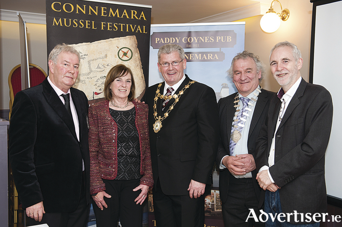 Pictured at the launch of the Connemara Mussel Festival are L-R; Patrick 'Rala' O'Reilly, festival treasurer Marian Herriott, Mayor of Galway City Frank Fahy, Deputy County Mayor Malachy Noone and festival chairman Gerard Coyne.