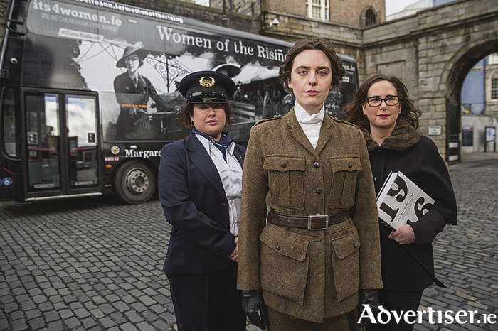 Michelle McClelland, Bus Éireann acting inspector; Olwen Jennings as 1916 revolutionary Kathleen Lynn, and Dr Jennifer Redmond, lecturer in 20th century Irish history at the launch of a collaborative, nationwide, campaign to commemorate leading female figures in the 1916 Rising. Photo: Naoise Culhane.