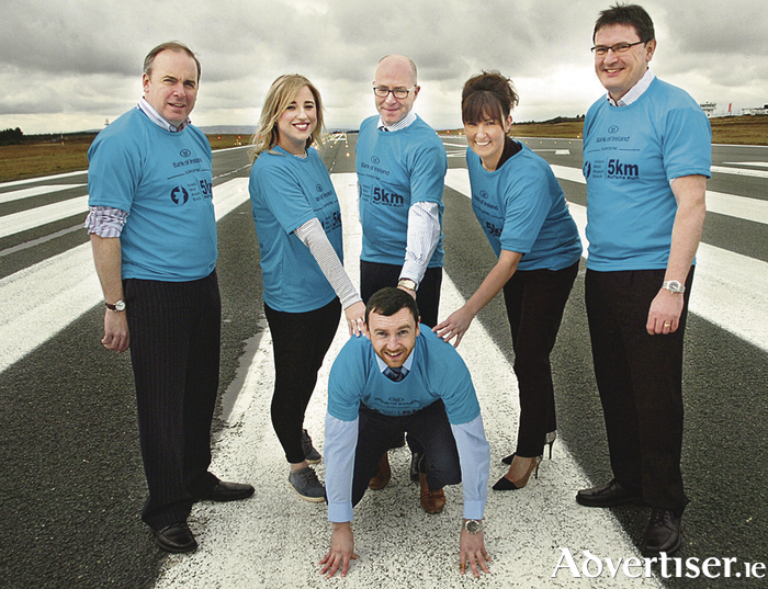 Pictured at the announcement of the Ireland West Airport Runway Run/Walk are, from left to right: Mike Crowe (MS Ireland), Rachael Dooley (Cancer Care West), Eugene Loughran (Bank of Ireland), Donna Crowe (Pieta House) Joe Gilmore (managing director, Ireland West Airport), and at front Keith Higgins, Bank of Ireland and Mayo GAA footballer.