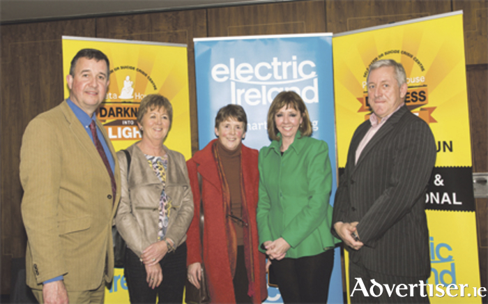 Pictured at the launch of the Pieta House Darkness into Light campaign for 2016 are (l-r): Tom McEvoy, director of advocacy, Pieta House, Noeleen Walsh, Frances Mc Carrick, Joan Freeman, founder of Pieta House, and Kevin Molloy of Electric Ireland