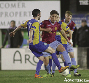 Galway United's John Sullivan clashes with Bray Wanderers' Ryan Brennan in action from Galway United's first home game of SSE Airtricity League at Eamonn Deacy Park on Friday night. Photo:-Mike Shaughnessy