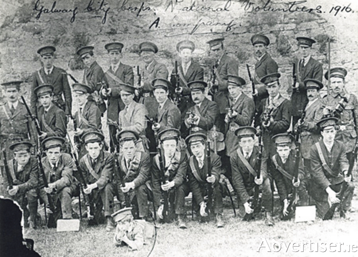"Our photograph shows the A Company of the Galway Corps of the National Volunteers taken in 1916, some of whom look too young to be carrying rifles.It is one of the illustrations in a new book by William Henry titled ""Pathway to Rebellion, Galway, 1916"" which is to be launched in the Meyrick Hotel on Saturday evening. The book covers the entire story of Galway's Rising and is a terrific read. Highly recommended, available in good bookshops at €15."