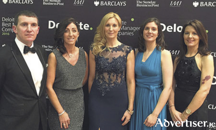 Pictured at the Deloitte Ireland Best Managed Companies Awards 2016 from Collins McNicholas Recruitment & HR Services Group were Niall Murray (Managing Director), Antoinette O'Flaherty (Director), Michelle Murphy (Director), Caroline Ward (HR Services Manager), and Mary Mullin (Regional Manager - Dublin / Midlands).