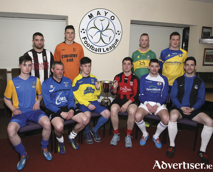 Ready for the off: The captains of the sides who will be competing in the Mayo League Premier Division this year at the league launch which took place this week. Photo: Michael Donnelly
