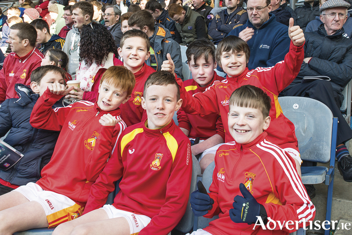 Castlebar Mitchels fans Luke Munnelly, Kaelan Mee, Daniel McHale, Conor Mulroy, Sean Morahan and Ben McHale all ready for the throw in at the Senior Club Championship Finals in Croke Park. Photo: John Mee Photography