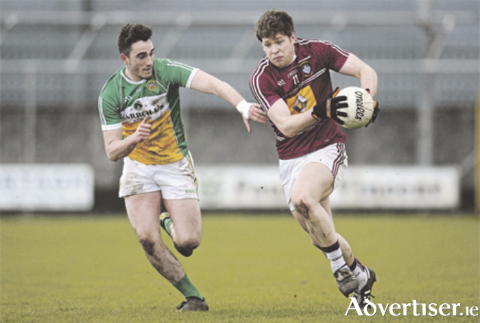 Westmeath's Callum McCormack in action against Eoin Rigney, Offaly, during the Allianz Football League Division 3 Round 6 encounter at Cusack Park Photo: Seb Daly/SPORTSFILE