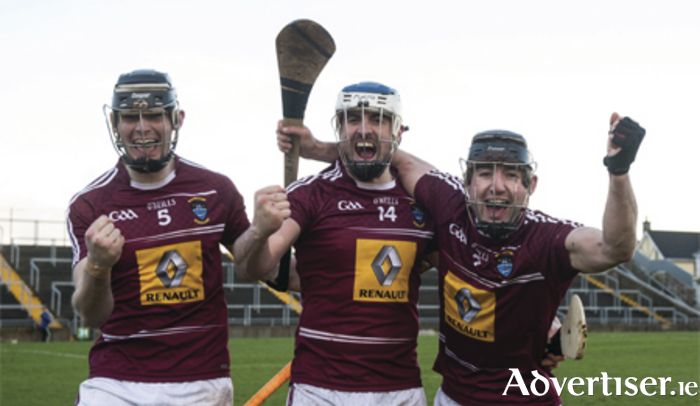 Aaron Craig, Brendan Murtagh, and Alan McGrath celebrate after Westmeath's victory against Carlow in the Allianz Hurling League Division 2A Final at O'Connor Park, Tullamore Photo: Piaras O'MÌdheach/SPORTSFILE