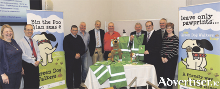 Pictured at the launch of the Green Dog Walkers initiative were Marie McCormack, Westmeath County Council; Greg Duggan, Westmeath County Council; Cllr Paddy Hill; Dave Raftis; Sean O'Laoide, county veterinary officer; Cllr Johnny Penrose; Cllr Frank McDermott; Cllr Paul Hogan; Ciaran Jordan, Westmeath County Council; and Ruth Maxwell, environmental awareness officer.