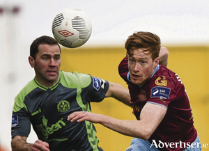 Gary Shanahan, Galway United, in action against Dave Mulcahy, Bohemians. SSE Airtricity League Premier Division, Galway United v Bohemians. Eamonn Deacy Park, .