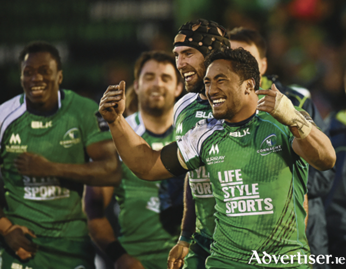 One more step: Bundee Aki and his Connacht team-mates celebrate following their side's victory last weekend. Photo: Sportsfile