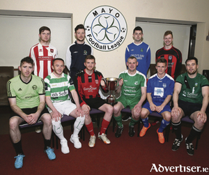 Super League Players pictured at Milebush Park at Mayo League 2016 season launch. Front: Alan Dempsey (Conn Rangers); Gerard O'Boyle (Castlebar Celtic); Pat Fitzgerald, (Westport United);  David Grant (Claremorris); Dylan McKee, (Ballina Town); and Niall Tuffy (Ballyheane). Back: Anthony Killeen (Ballyglass); Chris Rowland (Glenhest Rovers), Brian Ralph (Manulla), and Kyle O'Reilly, Iorras Aonthaithe. Photo: Michael Donnelly.