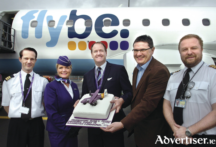 Pictured at the commencement of new year round services to Birmingham and Edinburgh were Joe Gilmore, Managing Director, Ireland West Airport and pilots and crew from Flybe
