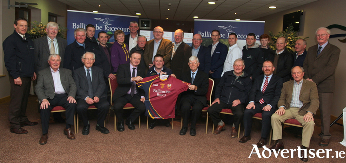 Ballinrobe Races is the new sponsor of the Ballinrobe GAA Club senior football team. Race committee members are pictured presenting club members with the new team jerseys. Photo:Trish Forde.