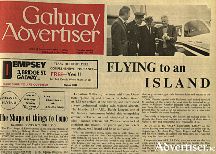 The front page of the Galway Advertiser on the occasion of Aer Arann's first flight in 1970.