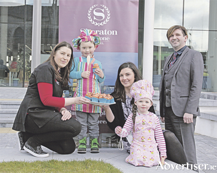 Pictured are Deirdre Bushell, Grovelands Childcare; Lucas Ryan; Erica Kelly, Sheraton Hotel/Harvest Cafe; Éadaoin West; and Brian Reynolds, Sheraton Hotel/Harvest Cafe