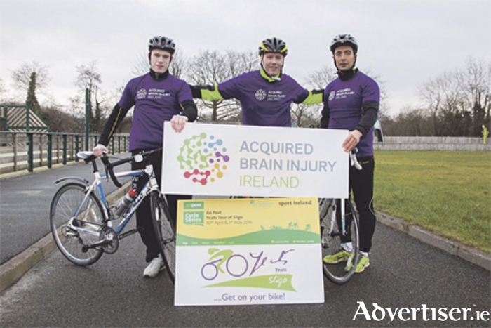 Supporting the hosting of the An Post Yeats Tour of Sligo are ambassadors for Acquired Brain Injury, the event charity, including Eoin Flanagan Sligo GAA, Kevin Blessing Ocean FM, and Neil Ewing Sligo GAA.
