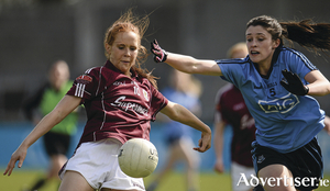 Galway's Olivia Divilly in control against Olwen Carey of Dublin in the Lidl Ladies Football National League, division one game at Parnell Park, Dublin.