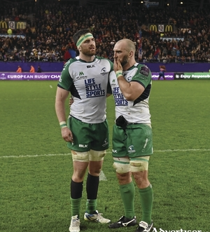 Conncaht's Andrew Browne (left) with captain John Muldoon reflect on their one-point loss to Grenoble on Saturday.