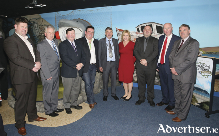 Public representatives and speakers pictured at the business launch of the Achill Experience at Crumpaun, Keel, Achill from left: Cllr Paul McNamara,  Padraig Philbin, Pat Kilbane, Kenneth Deery, Cllr Michael Holmes, Cllr Rose Conway Walsh, Sean Molloy, Terence Dever and  Stiofán O;Cualáin. Photo: Michael Donnelly