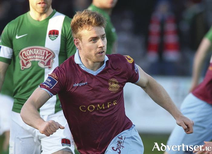 Galway United v Cork City SSE Airtricity League Premier Division game at Eamonn Deacy Park. Vinny Faherty after scoring Galway United's first goal. Photograph: Mike Shaughnessy