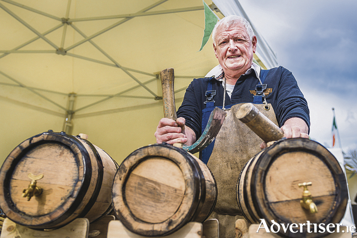 John Neilly (Nephin Whiskey), who is the only remaining master cooper in Ireland, demonstrates his traditional barrel making skills at the launch of Féile na Tuaithe 2016 at the National Museum of Ireland - Country Life near Castlebar. Féile na Tuaithe takes place on May 21 and 22. Photo: John Mee Photography.