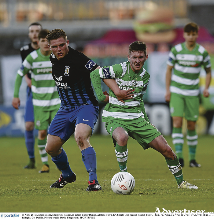 Athlone Town's Conor Dunne in action last weekend against James Doona of Shamrock Rovers in the EA Sports Cup Second Round Pool 4 game at Tallaght Stadium, Dublin Photo: David Fitzgerald/SPORTSFILE