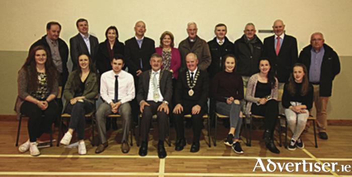 Back row: Fr Stephen O'Mahony (PP Bohola), Neil Sheridan (Mayo County Council), Eileen Goldrick, Charlie Lambert (Mayo Sports Partnership),  Anne Mulroy, Canon Michael Joyce, Eddie Jordan, Martin Carney, Joe O'Neill and Damien Woods. Front row: Maggie Byrne, Dayna Finn, Jason Prendergast, Cllr Michael Holmes (Cathaoirleach of Mayo County Council), Cllr Blackie Gavin (Cathaoirleach Castlebar Municipal District), Eva Finn, (accepting award for Shauna Heffernan), Aoife Mulroy, and Maeve Gallagher (accepting award for Conor Gallagher).