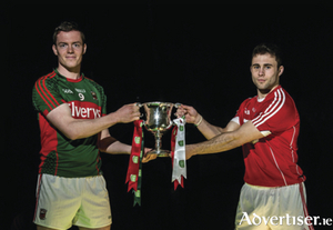 Cork U21 football captain Stephen Cronin, right, and Mayo captain Stephen Coen in Croke Park ahead of their teams meeting in the EirGrid GAA Football U21 All-Ireland final 2016. The match will take place on Saturday at 6pm in Cusack Park, Ennis.  Picture: Brendan Moran/Sportsfile.
