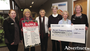 At the presentation of a €1,000 cheque the funds of which were raised recently in the Bank of Ireland Branch, Ballina, were members of Ballina Community Centre Committee, Ann Murray, Nan Healy, Sr Martha, and Olive O'Donnell, accepting the cheque from Mary Doherty (manager, Bank of Ireland, Ballina).  Also included is Siobhan Conlon (Bank of Ireland, Ballina). Photo: David Farrell Photography.