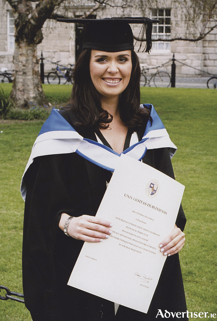 Gillian Beatty, Dangan, pictured after receiving her Masters Degree in Education from Trinity College Dublin recently.