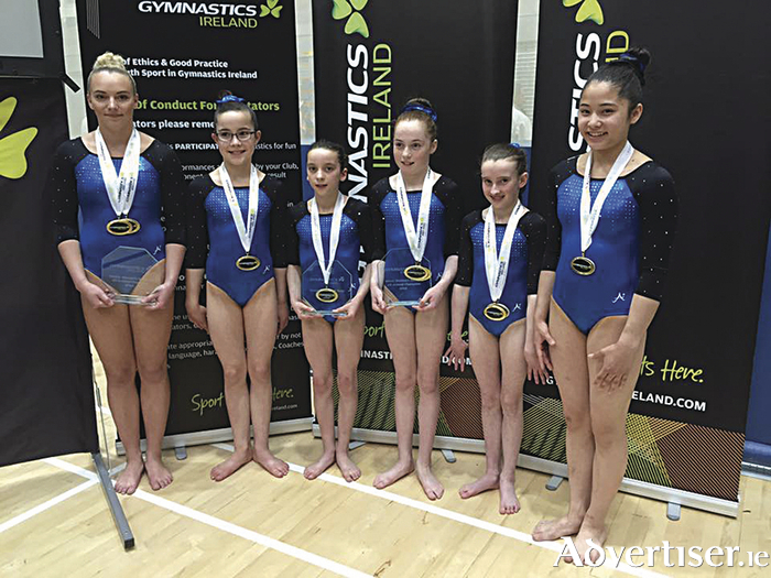 "Renmore Gymnastics Club team winners of the national championship title: L to R,  Ellis O""'Reilly,  Miriam Fuller,  Kate Molloy,  Emma Slevin,  Jane Heffernan  and Emer Shimizu"