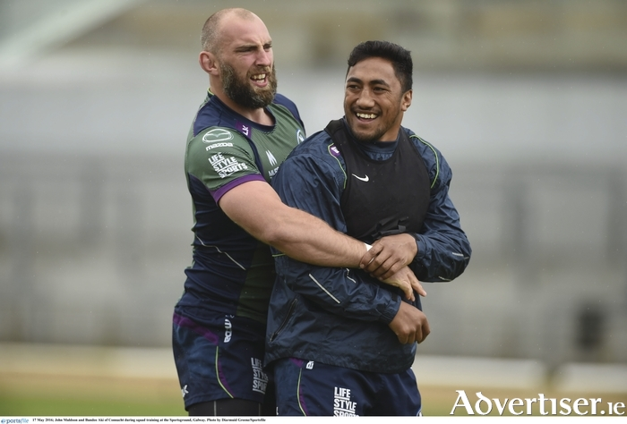John Muldoon and Bundee Aki of Connacht during squad training at the Sportsground, Galway. Photo by Diarmuid Greene/Sportsfile