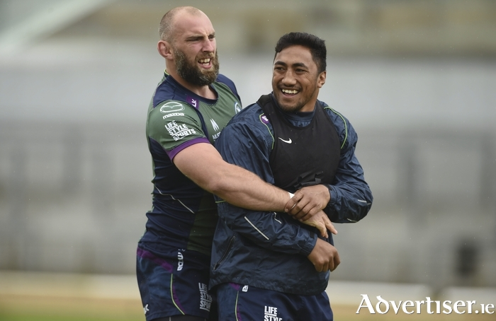 Mountains of Men: John Muldoon and Bundee Aki of Connacht during squad training at the Sportsground, Galway. Photo: Sportsfile