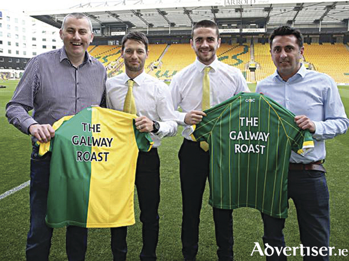 The Galway Roast owner Niall Murphy (far left), with Irish internationals Wes Hoolahan and Robbie Brady.