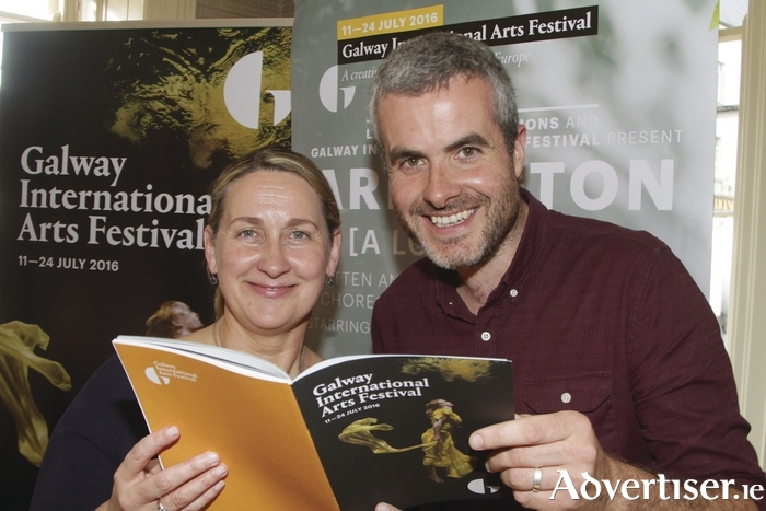 Gwen O'Sullivan Galway International Arts Festival press officer with athenry artist Donnacha Cahill at the launch of the Galway International arts Festival on the Hotel Meyrick on Tuesday. Photo:- Mike Shaughnessy
