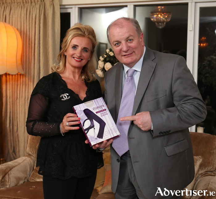 As seen on Dragon's Den, Sandra Walsh of Canopi Sleeves will visit Treasure Chest, Galway on Saturday 28th May 12.30 to 2.30pm marking the arrival of Canopi instore.Sandra Walsh pictured with Gavin Duffy, RTE Dragon's Den and investor in Canopi Sleeves. Pic. Robbie Reynolds