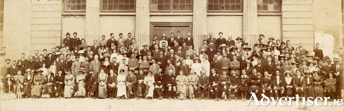 This photo, take at Galway's Town Hall in 1913 features  future presidents Douglas Hyde, Sean T Ó Ceallaigh, and Eamon De Valera; 1916 proclamation signatories Pádraig Pearse, Seán Mac Diarmada, and Éamonn Ceannt; and key figures in the Revolution like Cathal Brugha and Countess Markiewicz.
