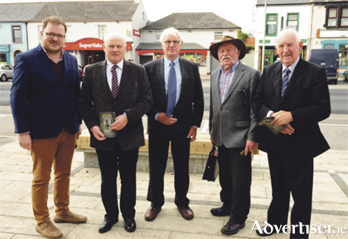 L-r: Cllr Colm Murray, Willie Flanagan, Sean Ryan, Niall Nally, and Teddy McGoey at the launch of the Goldsmith Festival.  Photo: Declan Gilmore
