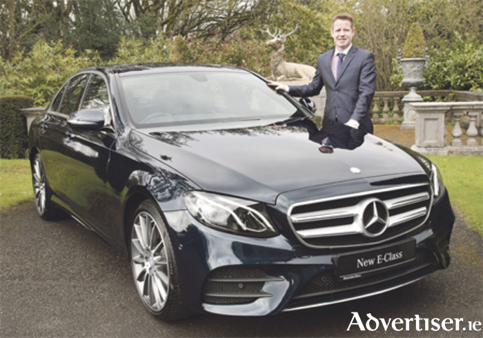 Mercedes-Benz main dealer Ian Moore of Michael Moore Car Sales, Athlone, pictured with the new E-Class which can now be viewed at their showrooms on the Dublin Road.