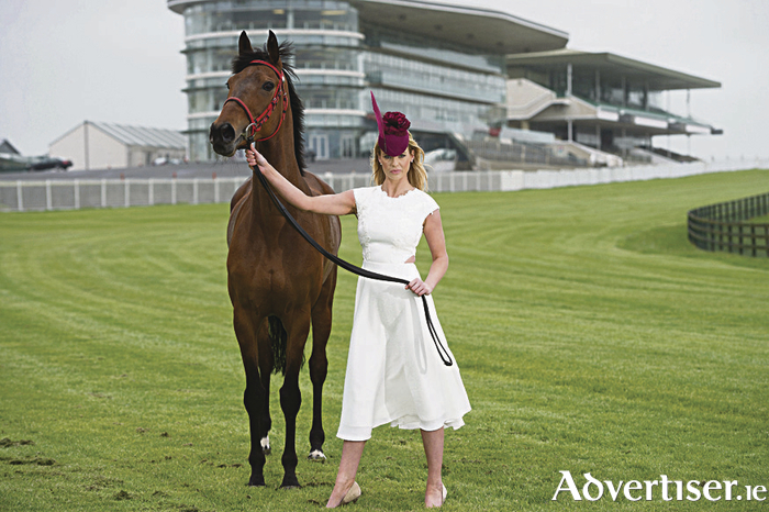 Horse Ballygill Princess from Val O'Brien's yard with Kelley McGrath, catwalkmodels wearing a Ted Baker dress and Edel Ramberg Millinery. kindly provided by Brown Thomas Galway .   Photo:Andrew Downes, xposure.