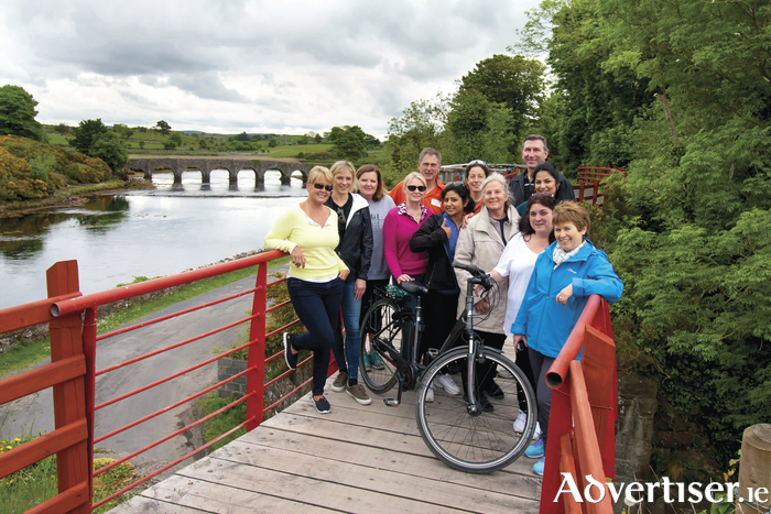 American travel agents get ready to cycle along the Great Western Greenway. They are pictured with Virginia Goff, Tourism Ireland (second left), and Paul Harmon and Rachel Nolan, both Electric Escapes (back, centre).