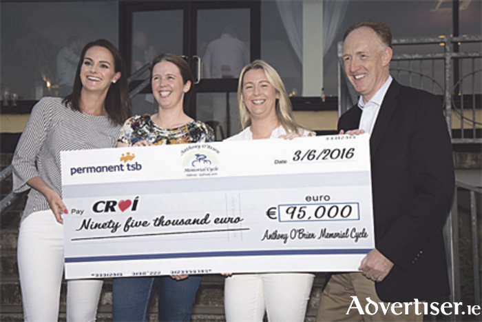 Deirdre O'Brien, Edel Walsh, and Majella Kelly presenting the cheque to Neil Johnson of Croí