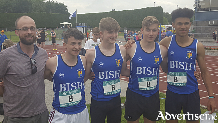 Champions:  Derek Murray (coach), Paul Lally, Eddie Bennett, Sean Kilmartin, and Nathan Unorka from St Joseph's College, Galway - winners of the Lonergan Cup at the All Ireland schools' championships.