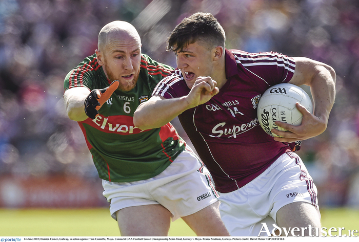 Damien Comer in action against Mayo last year.