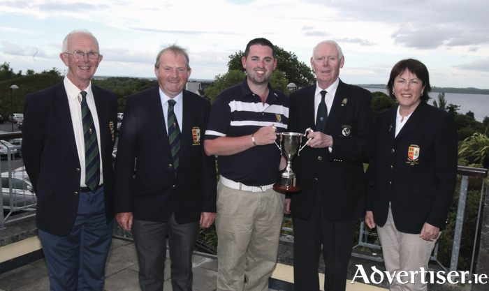 Athlone man Thomas O'Connor won the inaugural Connacht Strokeplay Championship, hosted in Athlone Golf Club. Pictured (l-r) are Michael Cleary, president Athlone Golf Club; John Burns, captain Athlone Golf Club; Thomas O'Connor;  Jim McGovern, chairman, Connacht Branch GUI; and Margaret Geoghegan, lady captain, Athlone Golf Club.