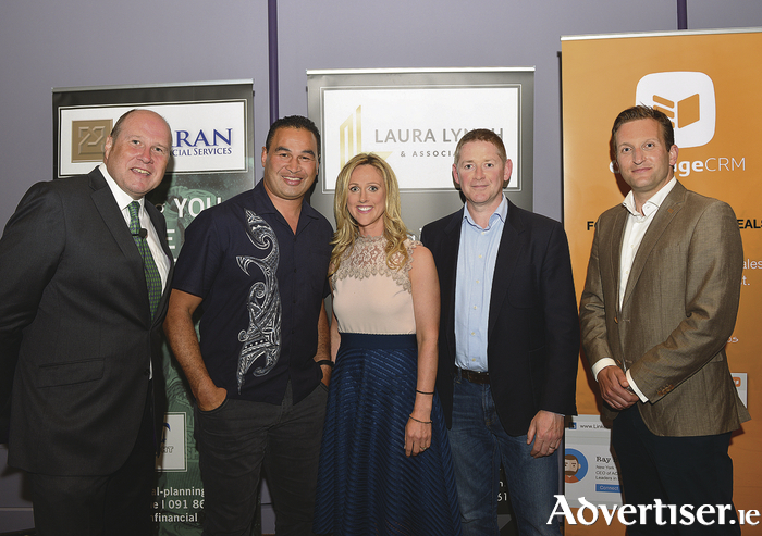 Pictured at the event are Ivan Yates, Pat Lam, Laura Lynch, Michael Fitzgerald, and Ross Curran.