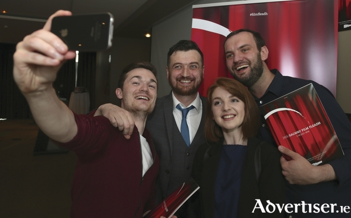Attending the launch of the The Galway Film Fleadh at the Radisson Hotel on Tuesday evening were actors Shane Murray Corcoran (left) and Iseult Casey, director Tom Ryan (right) and Gar O'Brien, Galway Film Fleadh programmer. Photo:- Mike Shaughnessy
