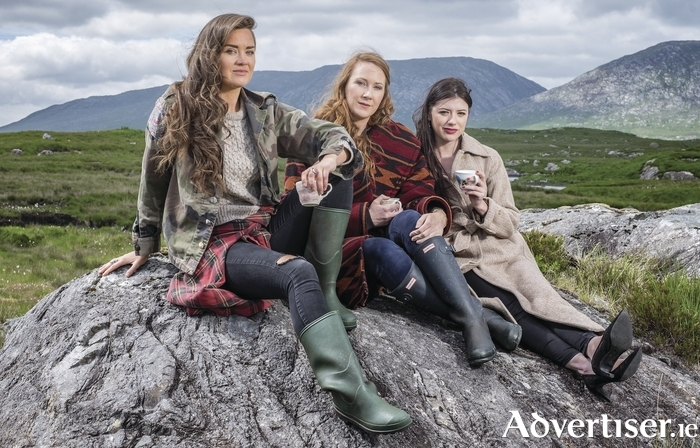 Linda Bhreathnach, Sorcha Ní Chéide and Emma Eliza Regan who star in the short film Adulting by Linda Bhreathnach and Justin Davey. Photo:- Seán McCormack.