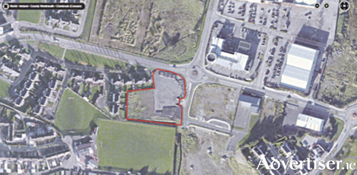 An aerial view showing the site of the proposed development at Arcadia